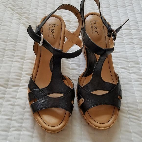 f48bda324472 b.o.c. Shoes - B.O.C. Black Cork Wedge Sandals New